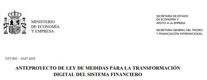 Resumen del Anteproyecto de Ley Transformacion digital del sector financiero