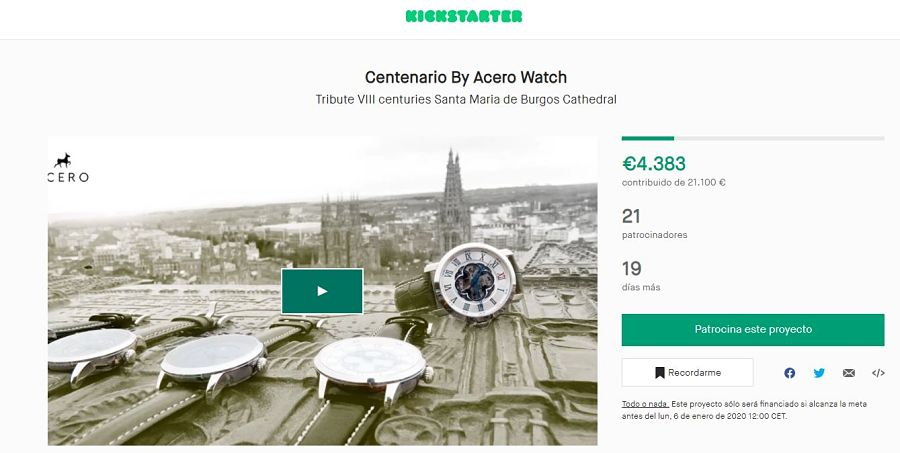 Proyecto Kickstarter Acero Watch