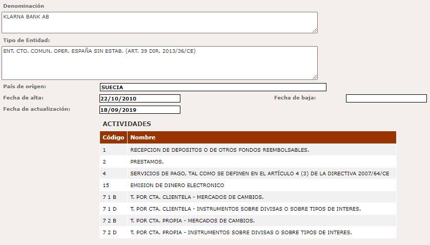 Klarna en España: registro del BdE