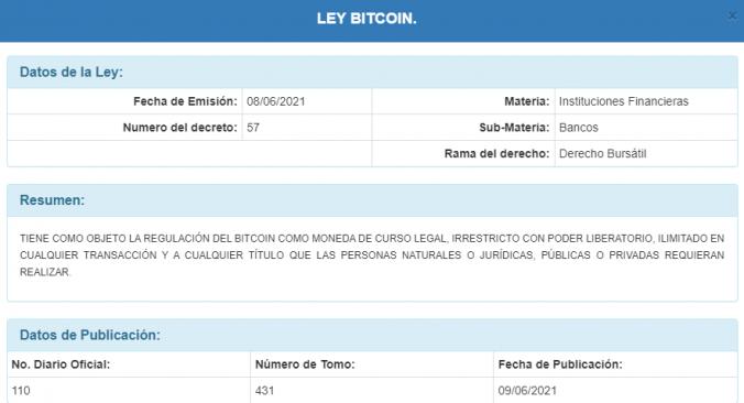 Carátula de la Ley Bitcoin