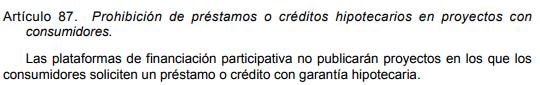 Prohibición del crowdfunding hipotecario